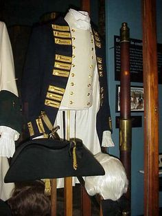 British officer's uniform, with hat, displayed in the Royal British Columbia Museum, Victoria, British Columbia, Canada.