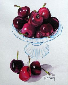 Bowl of Cherries Painting by Maria Barry - Bowl of Cherries Fine Art Prints and Posters for Sale
