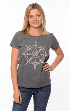 Derbe Damen T-Shirt Steuerrad Wendy Grau