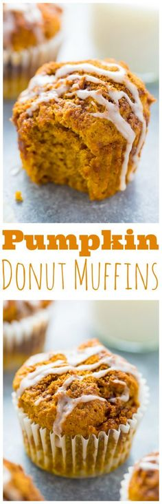 Sweet and simple Glazed Pumpkin Donut Muffins! Made with healthier ingredients so you can enjoy them guilt free. #vegan