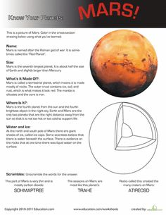 Worksheets: Know Your Planets: Mars