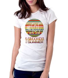 5 Seconds Of Summer Aztec - Women - Shirt - Clothing - White, Black, Gray - @Dianov93