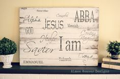 Names of God sign art,Craft Ideas,faith,For the Home, Painted Wood Signs, Custom Wood Signs, Wooden Signs, Inspirational Verses, Names Of God, Prayer Room, Christian Gifts, Christian Messages, Silhouette Projects