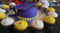 LW to UW - Graduation cake for my brother Matt who is moving on from Lake Washington HS to University of Washington(: High school colors were purple and white, college colors are purple and gold.