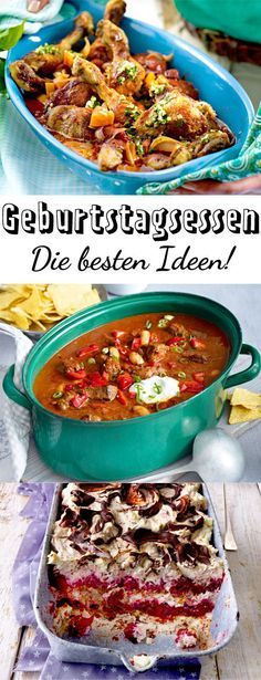 Birthday dinner ideas for many guests DELICIOUS- Geburtstagsessen – Ideen für viele Gäste Dinner Recipes, Dessert Recipes, Desserts, Dinner Ideas, Snacks Recipes, Breakfast Party, Brownie Bites Recipe, Holi Party, Clean Eating Dinner
