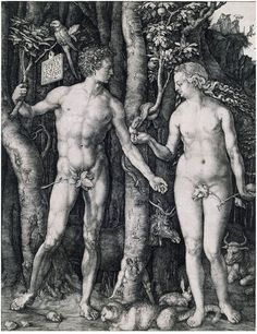 Adam and Eve: 1504  by Albrecht Dürer - engraving (Cleveland Museum of Art, Cleveland, Ohio) Viewed as part of the Exhibition: Dürer's Women: Images of Devotion & Desire (August, 2014)