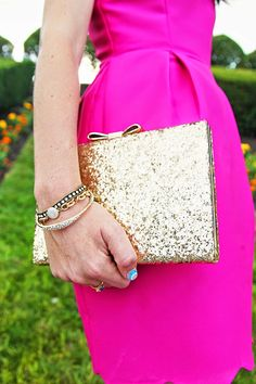 Classy Girls Wear Pearls: Shades of Spade - gold clutch and pink dress