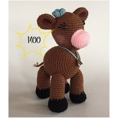 Crocheted Cow  Made to Order  amigurumi  crocheted cow  by meddywv