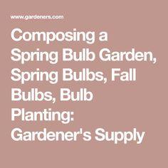Composing a Spring Bulb Garden, Spring Bulbs, Fall Bulbs, Bulb Planting: Gardener's Supply