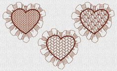 INSTANT DOWNLOAD Lacy Valentine Hearts Redwork by embroiderygirl