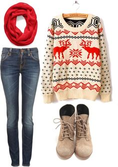 This is soooo cute! Good christmasy outfit.