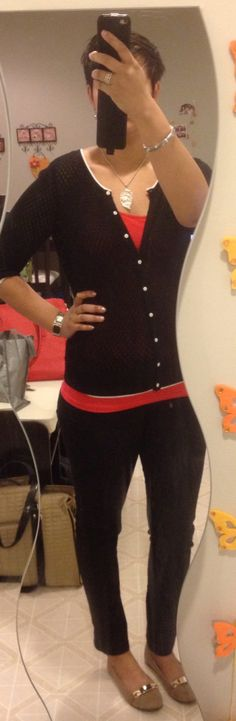 Sweater and red top H&M, black jeans SuziSher, beige dexflex PaylessShoes