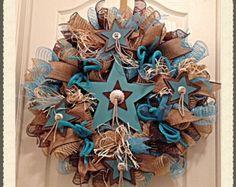 Western Turquoise Star Deco Mesh Wreath/Star Deco Mesh Wreath/Cowboy Wreath/Star Wreath/Cowgirl Wreath