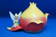 Tinker Bell Plastic Figurine Bank Tink on Flower Peter Pan Disney #DisneyStore #Bank