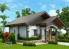 This tiny house plan has 2 bedrooms with one common toilet and bath. Minimum lot area is 138 square meters with 10 meters lot frontage with and meters depth or length. Modern Bungalow House, Bungalow Exterior, Bungalow House Plans, Small Modern House Plans, Small House Design, One Storey House, Two Bedroom House, Bedroom Small, Beautiful Small Homes
