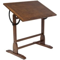 Features:  -Adjustable angle table top from flat to 90 degrees.  -Built in pencil groove.  -Material: Solid wood and metal.  -Adjustable base: No.  Top Finish: -Rustic oak.  Base Material: -Wood.  Bas