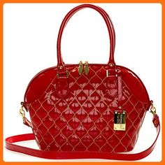 Giordano Italian Made Tote Handbag in Red Patent Quilted Leather with Gold Stitching - Top handle bags (*Amazon Partner-Link)