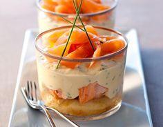 Recette Tiramisu aux deux saumons 250 g Mascarpone mélangé avec 3 jaune d'oeufs…