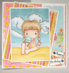 cc designs - beach card. Promarker cloudy sky background tutorial
