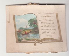 Every One of Us Shall Give Account Book Religious Victorian Card c1880s
