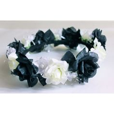 Black and White Flower Crown, White Flower Crown, Black Flower Crown,... ($29) ❤ liked on Polyvore featuring accessories, hair accessories, white headband, headband hair accessories, floral garland, flower crown and flower garland