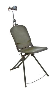 original c. 1940's vintage medical collapsible united states army field dental examination chair with adjustable headrest