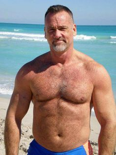 Goateed Speedo Dad on the beach