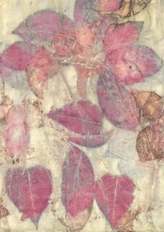 Sandra Fisher - ecoprint - prunus leaves on silk