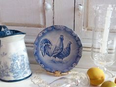 Blue Delft Roosters Plate for Dollhouse by Twelvetimesmoreteeny, €2.80