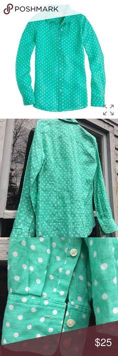 J. Crew Linen Dot Shirt Sea green 100% Linen polka dot button up colored Blouse from J. Crew. Measurements: Bust: 18.5, Length: 25.5 J. Crew Tops Button Down Shirts