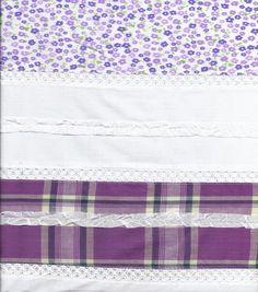 Patchwork Print Solid Purple Cotton