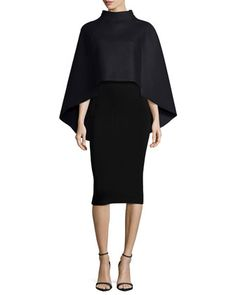 Sculptural Fashion // Sculptural Wool-Blend Cape & Structured Fitted Skirt by Milly at Bergdorf Goodman. Architectural Clothing, Fall Wardrobe, Wardrobe Ideas, Sculptural Fashion, Fitted Skirt, Modern Outfits, Neiman Marcus, Wool Blend, Designer Dresses