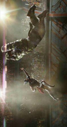 Thor vs hulk in Thor Ragnarok.