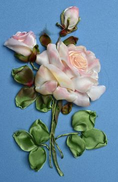 .Baby pink ribbon embroidered roses
