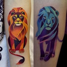 Lion head tattoo is made in newschool style. Tattoo for couples: one ...