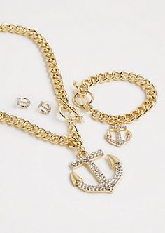 Shining Anchor Jewelry Set