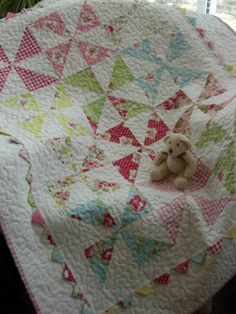 Rosy Baby Pinwheel Quilt by WoodenNeedleNook on Etsy, $143.00