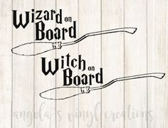 Witch OR Wizard on Board Permanent Vinyl will be a wonderful addition to your Muggle transportation device! Measurements are 2 x 5.4 inches  Your decal is cut from high quality Oracal brand vinyl. It is weeded with love and care to create a beautiful finished product. Colors may vary slightly according to your phone/computer settings.  You can apply your decal to any hard, non-porous surface.  >Permanent Vinyl can be applied to surfaces such as laptops, doors, windows, water bottles,...