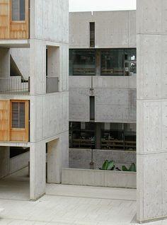Salk Institute, La Jolla, California, by Louis Kahn Concrete Architecture, Space Architecture, Classical Architecture, School Architecture, Architecture Details, Louis Kahn, Concrete Houses, House Of Beauty, Brutalist
