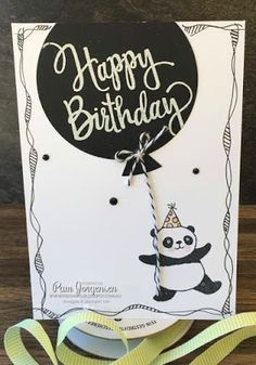 Stamping in my PJ's - Pamela Jorgensen Independent Stampin' Up! Demonstrator Australia: Another Panda Post Bday Cards, Kids Birthday Cards, Handmade Birthday Cards, Panda Birthday, Panda Party, Punch, Stamping Up Cards, Baby Kind, Kids Cards