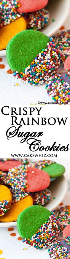 These thin and CRISPY RAINBOW SUGAR COOKIES are dipped in dark chocolate and covered in sprinkles! Great for birthday parties or even St.Patrick's day! From cakewhiz.com