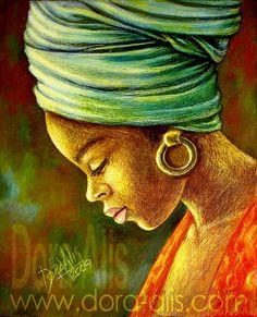6 by Doris Alis, April 2013 in Traditional Art> Paintings> Portraits African Art Paintings, Black Artwork, Afro Art, Black Women Art, Black Girls, African American Art, Caricatures, Love Art, Female Art