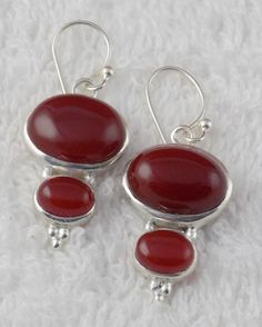 Natural Red Onyx Cabochon Gemstone 925 Sterling Silver Hanging Womens Earring