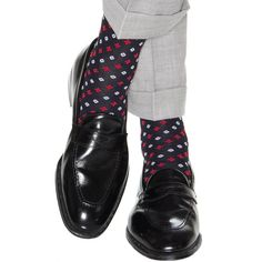 Dapper Classics socks are expertly knitted in North Carolina at a third-generation mill. Every sock is made with style and comfort in mind, guaranteeing that you look and feel your best. Our patterned Red Loafers, Loafers Outfit, Loafers Men, Cool Socks, Men's Socks, Custom Socks, Patterned Socks, Happy Socks, Sock Shoes