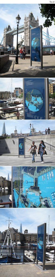 place making with frank illuminated pedestrian wayfinding signage at St Katharine Docs London