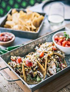 Chicken Tacos with Corn Salsa. Try a fun summer take on tacos with Chicken Tacos with Grilled Corn Tomato Salsa. Chicken Quinoa Salad, Chicken Tacos, Great Chicken Recipes, Good Healthy Recipes, Healthy Dinners, Tamales, Quesadillas, Empanadas, Nachos