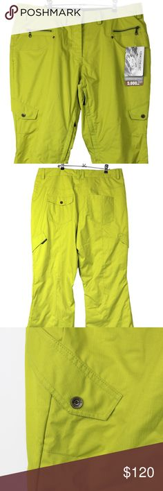Obermeyer Delia Ski/Snow Pants Chartreuse Slim: These garments fit close through the body or legs for a sleek, sexy, or athletic look. Great for temperatures 15°-30°F. Great for moderate snow, offers plenty of versatility, good for most conditions. Fabric Rating:5K Waterproofing / 5K Breathability, Shell Material: 100% polyester HydroBlock Obermeyer Other