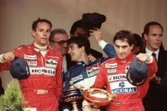 1990, another win at Monaco. Team mate Gerhard Berger and Jean Alesi share the podium.