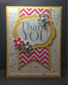 Thank You card using Petite Petals from the Stampinr' Up! 2014 spring Occasions mini catalog and Another Thank You and Gorgeous Grunge by Emily Mark SU demo Montreal. www.southshorestamping.com (FMS120)