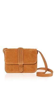 Colette Shoulder Bag in Tan Suede by Grace Atelier for Preorder on Moda Operandi